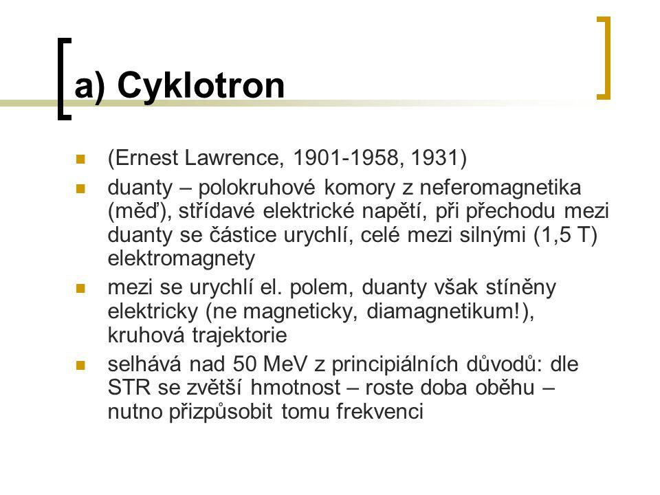 a) Cyklotron (Ernest Lawrence, 1901-1958, 1931)
