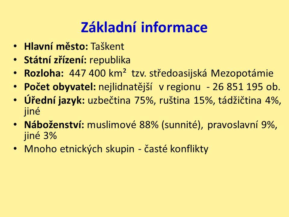 Základní informace Hlavní město: Taškent Státní zřízení: republika