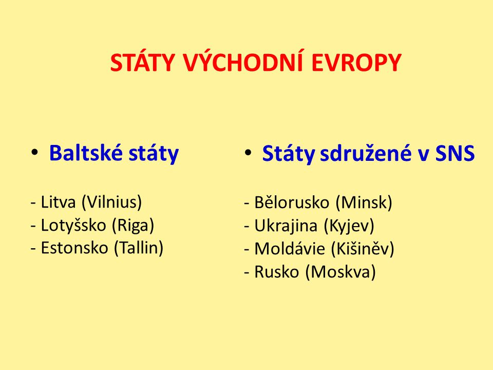 STÁTY VÝCHODNÍ EVROPY Baltské státy Státy sdružené v SNS