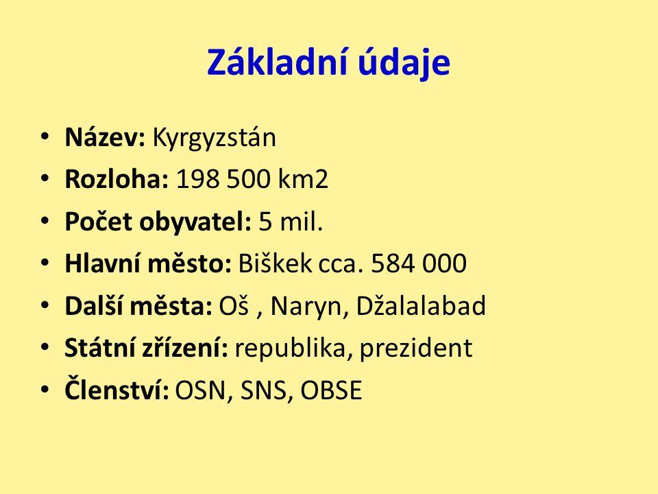 Základní údaje Název: Kyrgyzstán Rozloha: 198 500 km2