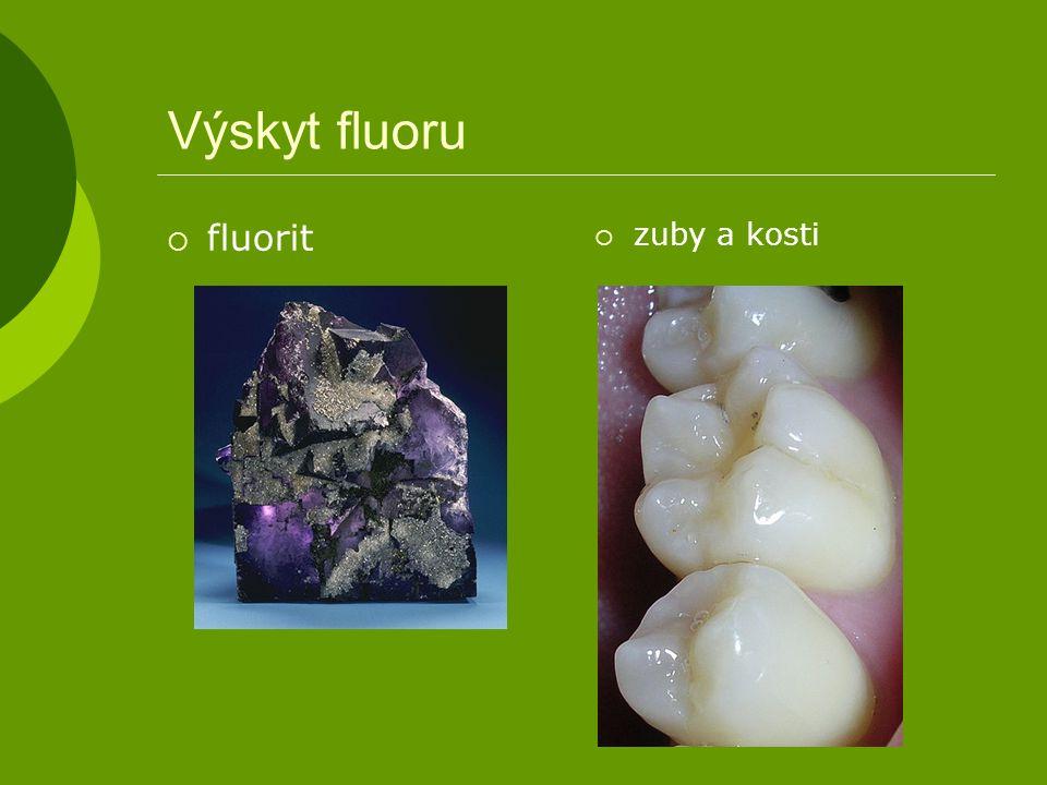 Výskyt fluoru fluorit zuby a kosti
