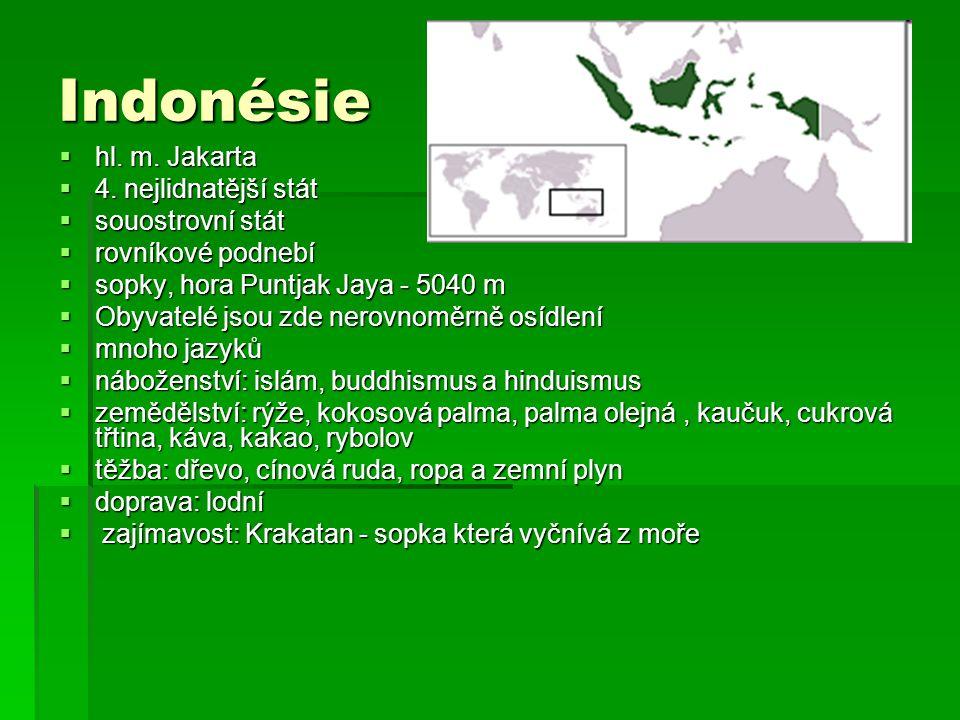 Indonésie hl. m. Jakarta 4. nejlidnatější stát souostrovní stát