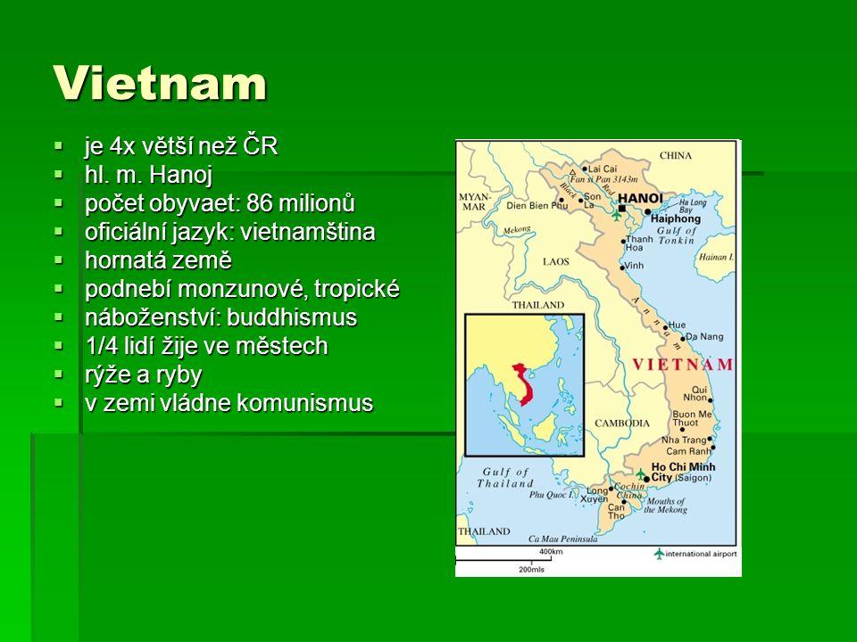 Vietnam je 4x větší než ČR hl. m. Hanoj počet obyvaet: 86 milionů