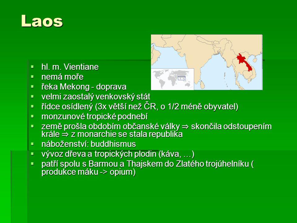 Laos hl. m. Vientiane nemá moře řeka Mekong - doprava