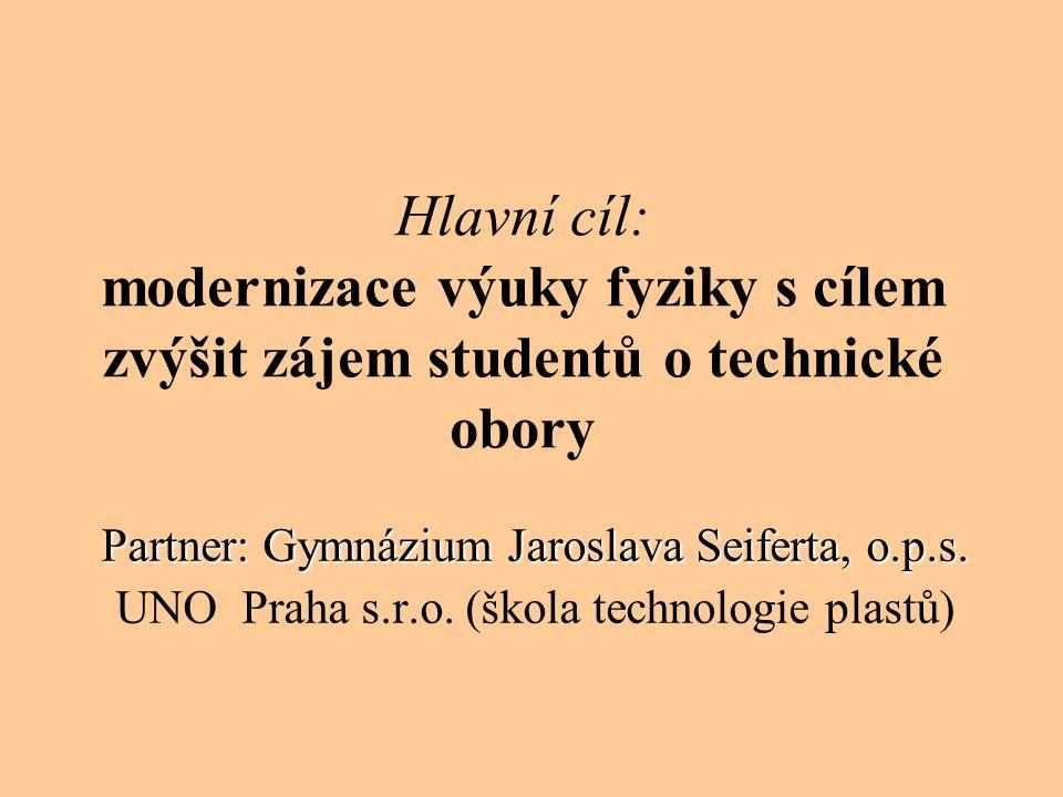 Hlavní cíl: modernizace výuky fyziky s cílem zvýšit zájem studentů o technické obory