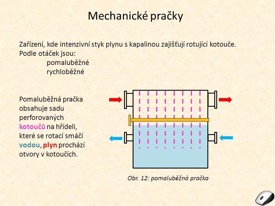 Mechanické pračky Zařízení, kde intenzivní styk plynu s kapalinou zajišťují rotující kotouče. Podle otáček jsou:
