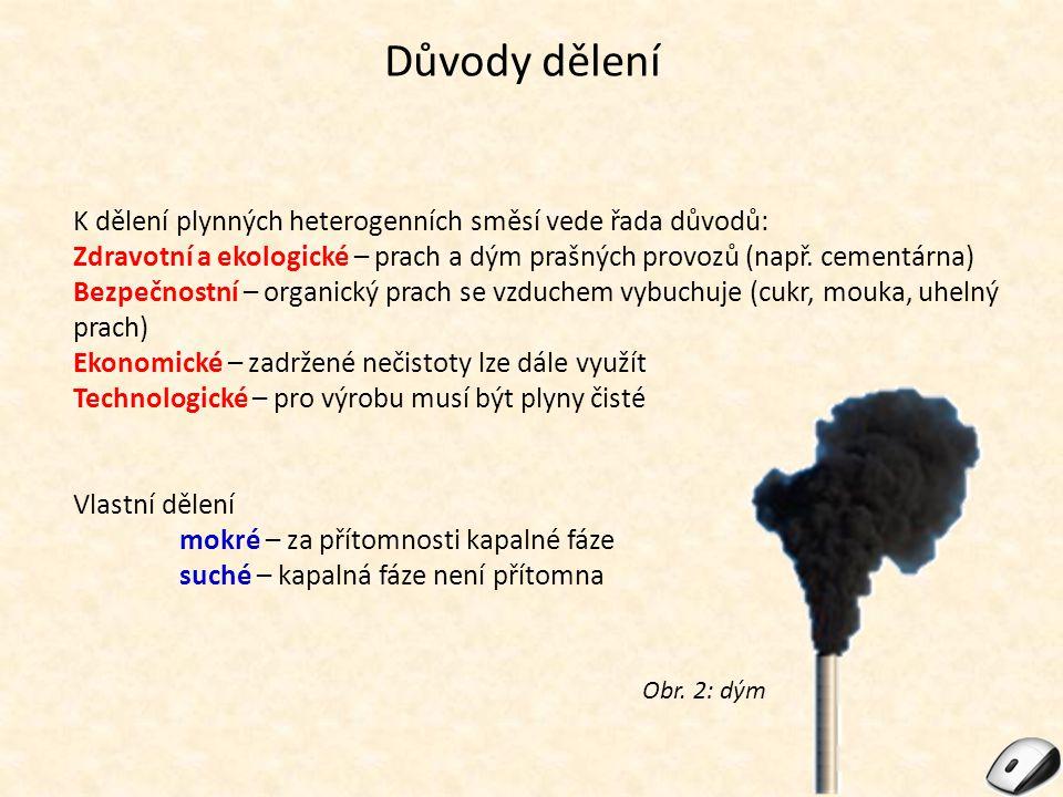 Důvody dělení K dělení plynných heterogenních směsí vede řada důvodů: