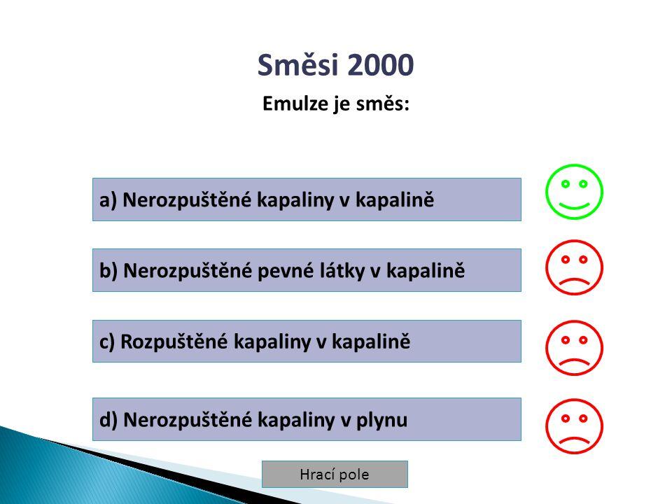 Směsi 2000 Emulze je směs: a) Nerozpuštěné kapaliny v kapalině