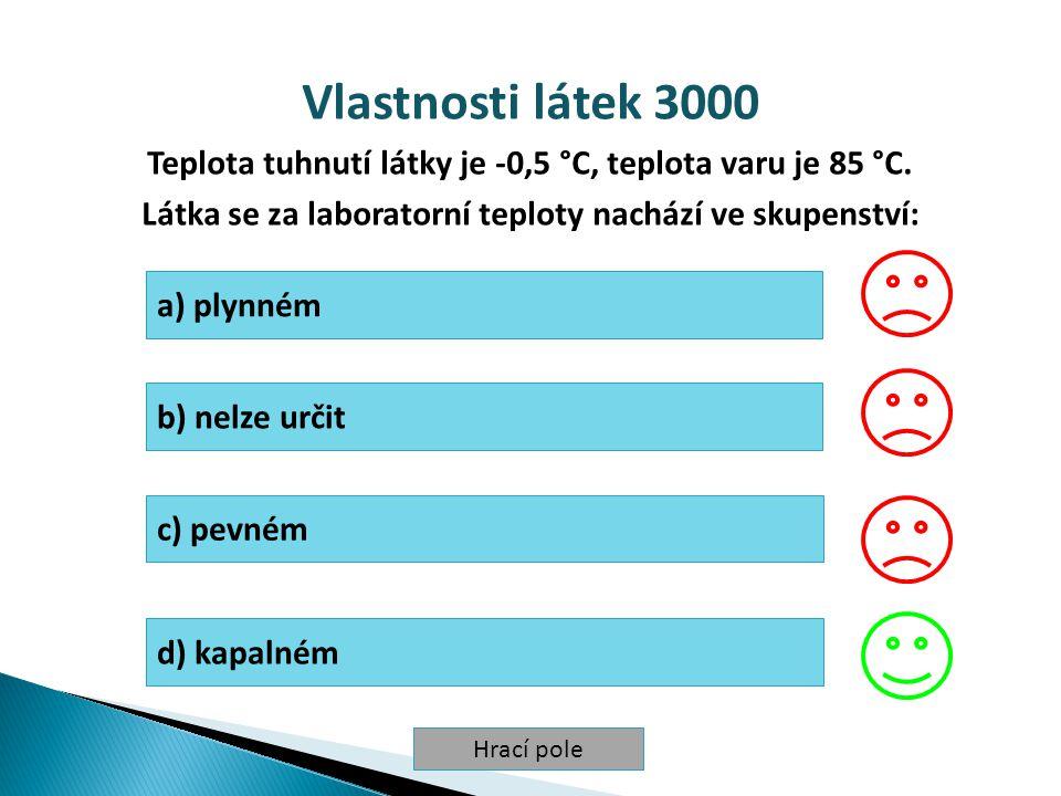 Vlastnosti látek 3000 Teplota tuhnutí látky je -0,5 °C, teplota varu je 85 °C. Látka se za laboratorní teploty nachází ve skupenství: