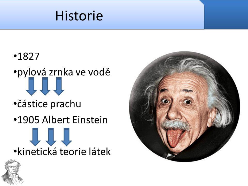 Historie 1827 pylová zrnka ve vodě částice prachu 1905 Albert Einstein