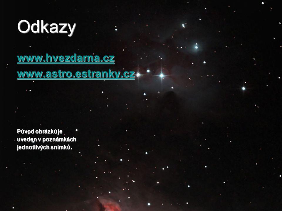 Odkazy www.hvezdarna.cz www.astro.estranky.cz Původ obrázků je