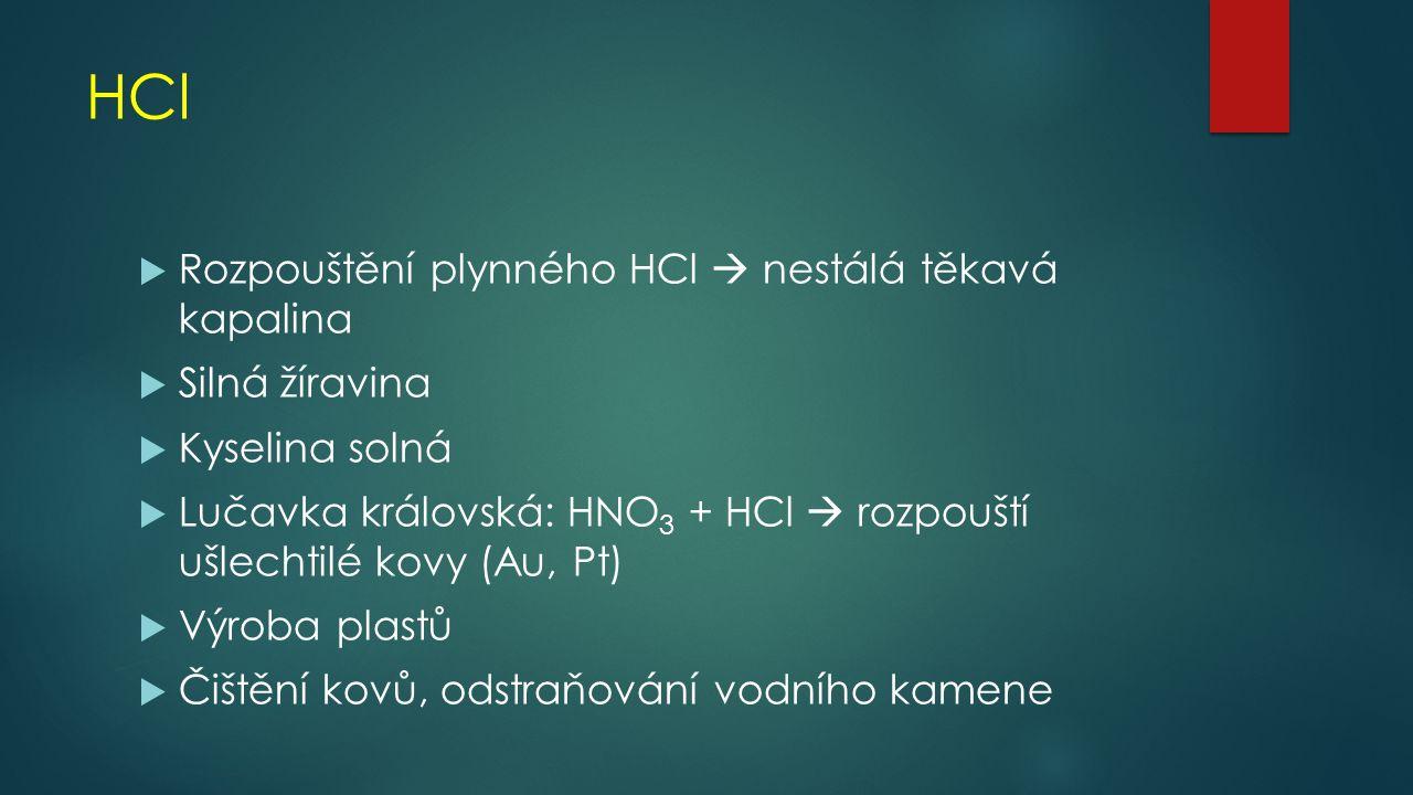 HCl Rozpouštění plynného HCl  nestálá těkavá kapalina Silná žíravina
