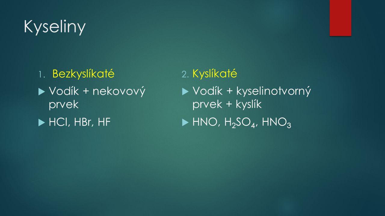 Kyseliny Bezkyslíkaté Vodík + nekovový prvek HCl, HBr, HF Kyslíkaté