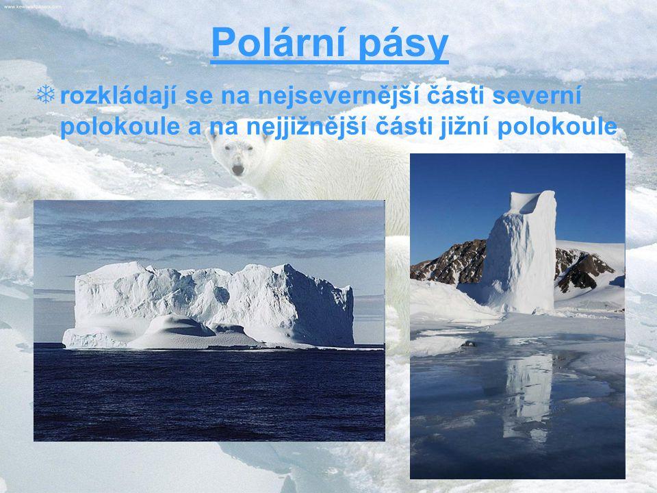Polární pásy rozkládají se na nejsevernější části severní polokoule a na nejjižnější části jižní polokoule.