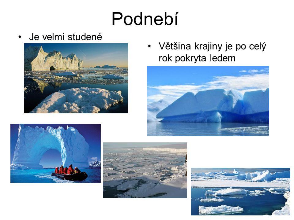 Podnebí Je velmi studené Většina krajiny je po celý rok pokryta ledem