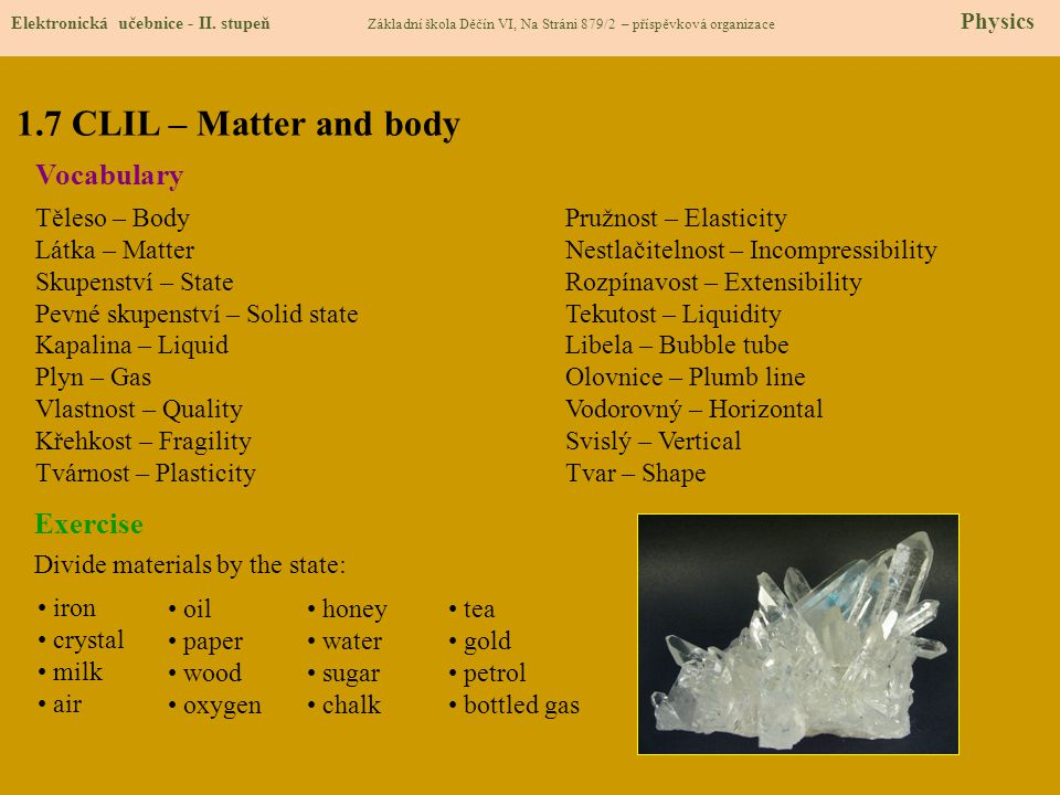 1.7 CLIL – Matter and body Vocabulary Exercise