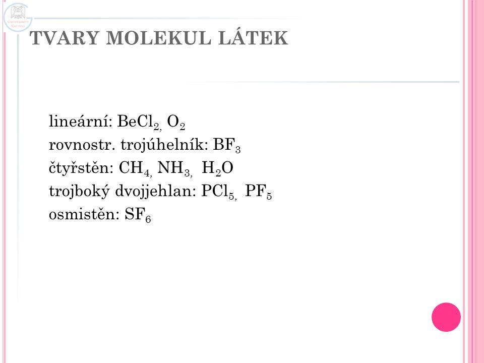 TVARY MOLEKUL LÁTEK lineární: BeCl2, O2 rovnostr.