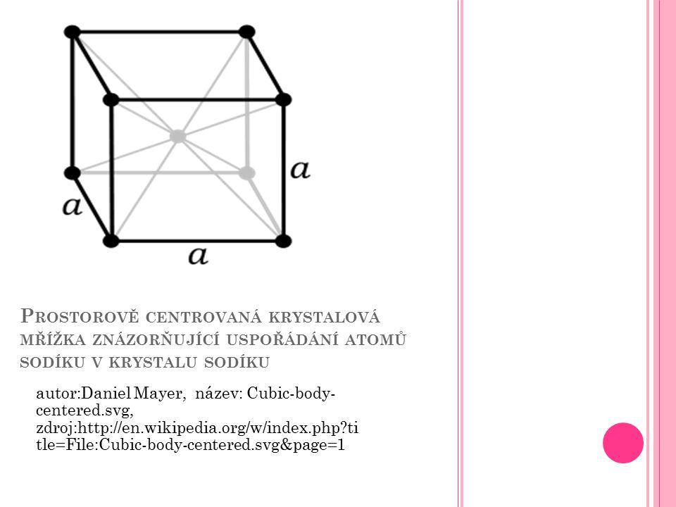 Prostorově centrovaná krystalová mřížka znázorňující uspořádání atomů sodíku v krystalu sodíku