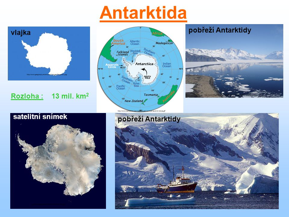 Antarktida Satelitní snímek pobřeží Antarktidy vlajka