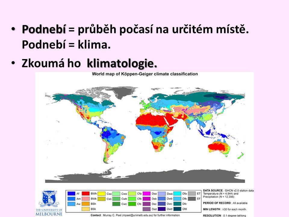 Podnebí = průběh počasí na určitém místě. Podnebí = klima.