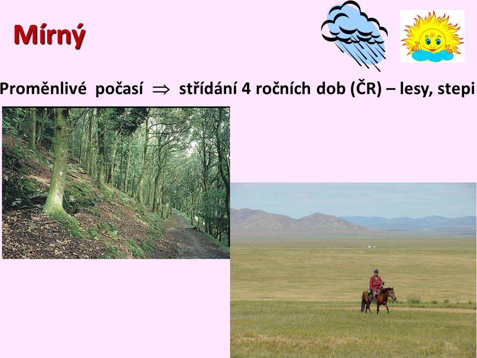 Mírný Proměnlivé počasí  střídání 4 ročních dob (ČR) – lesy, stepi