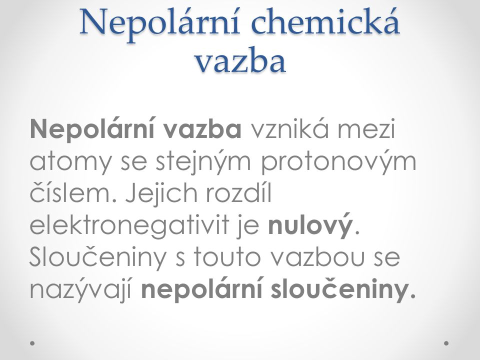 Nepolární chemická vazba