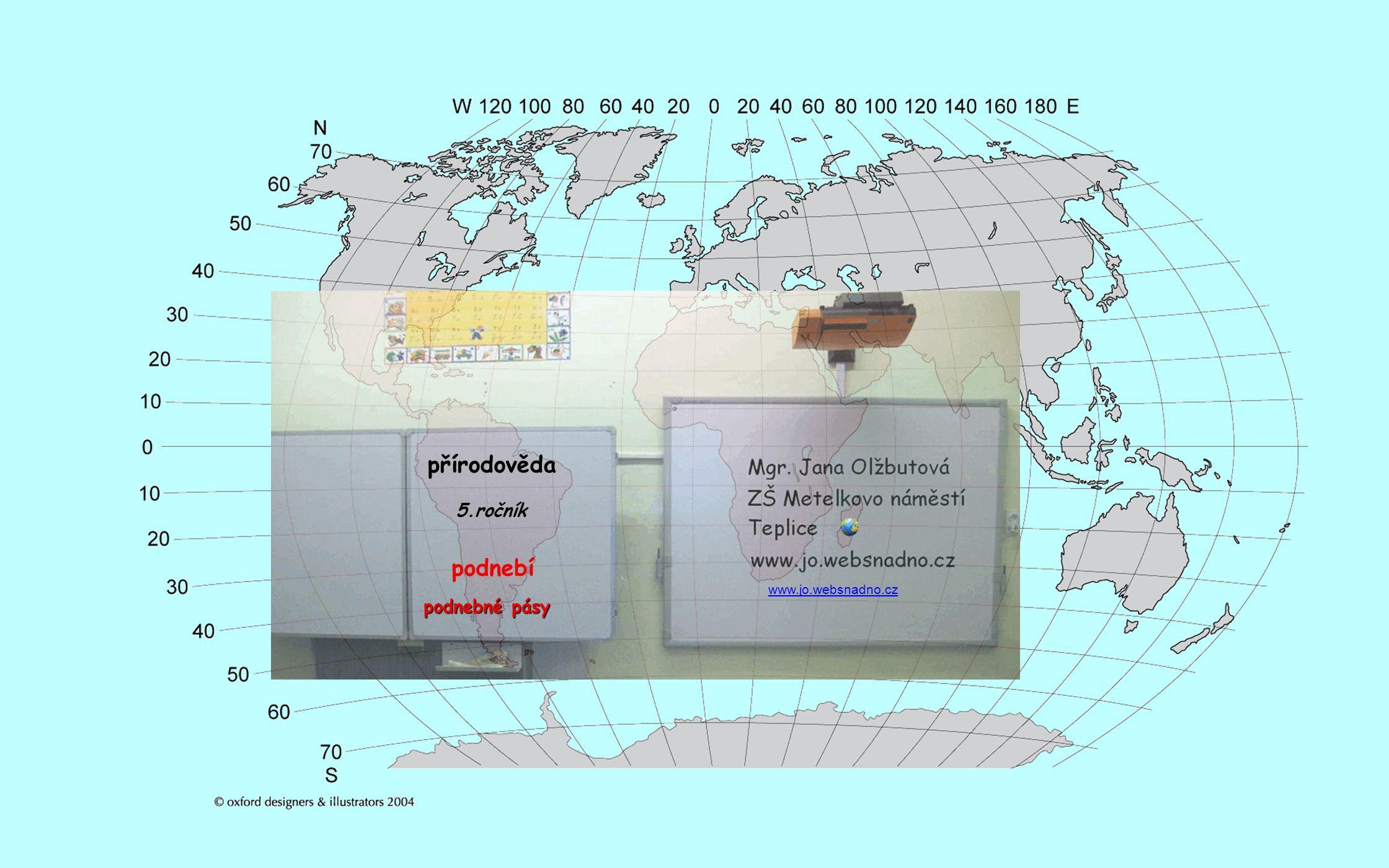 přírodověda 5.ročník podnebí www.jo.websnadno.cz podnebné pásy