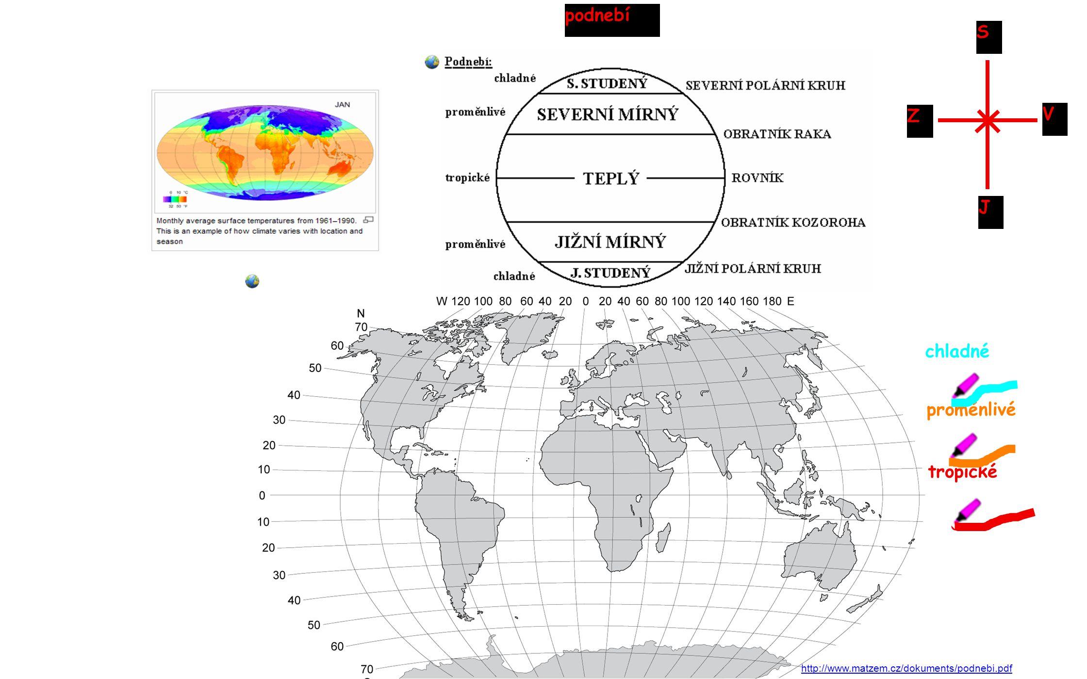 podnebí S V Z J chladné proměnlivé tropické