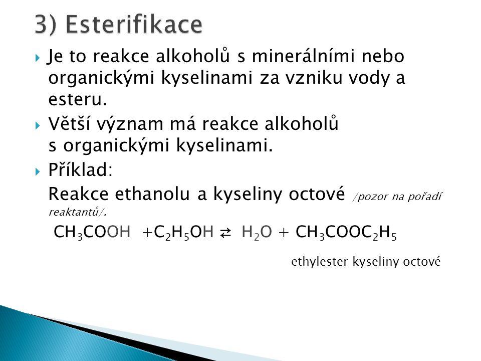 3) Esterifikace Je to reakce alkoholů s minerálními nebo organickými kyselinami za vzniku vody a esteru.