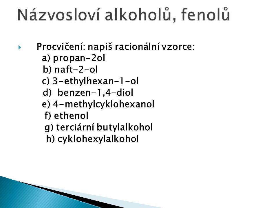 Názvosloví alkoholů, fenolů