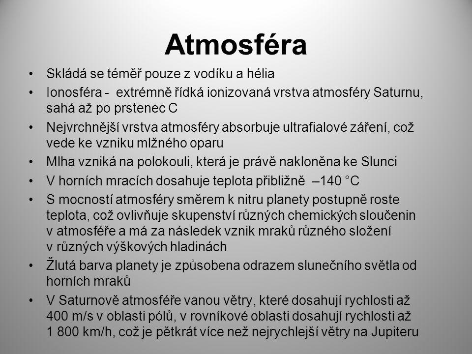 Atmosféra Skládá se téměř pouze z vodíku a hélia