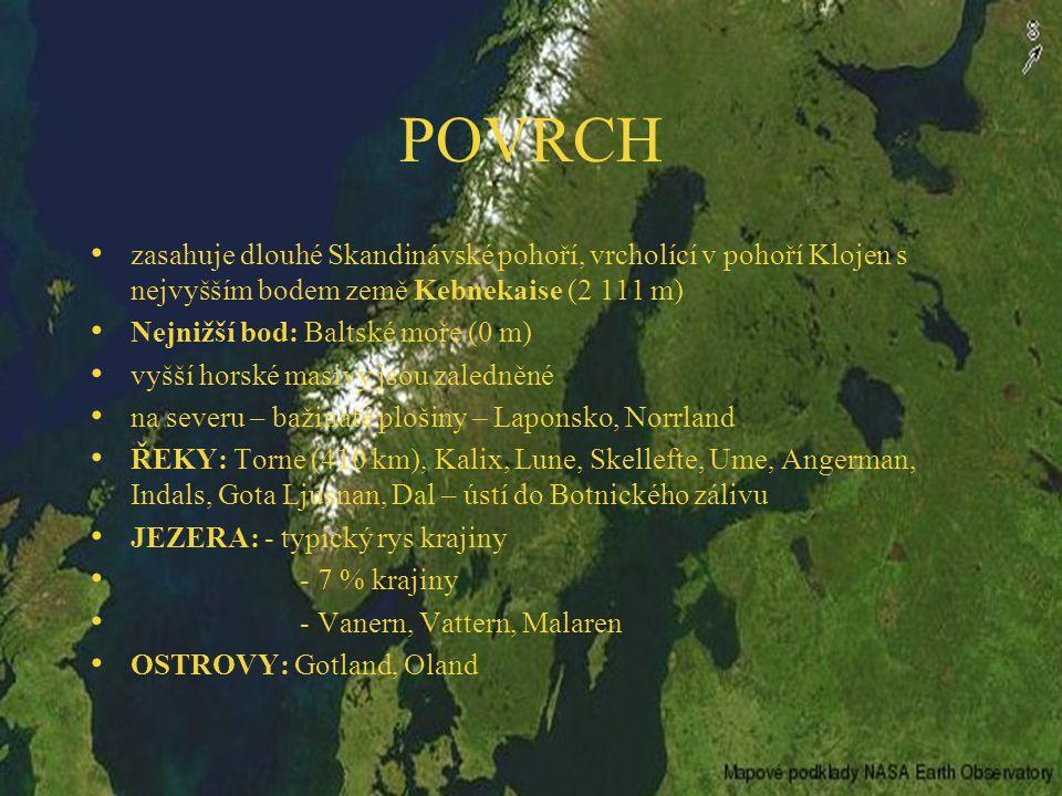 POVRCH zasahuje dlouhé Skandinávské pohoří, vrcholící v pohoří Klojen s nejvyšším bodem země Kebnekaise (2 111 m)