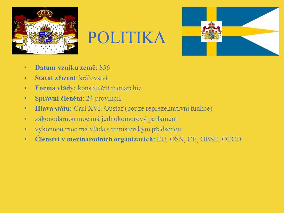 POLITIKA Datum vzniku země: 836 Státní zřízení: království