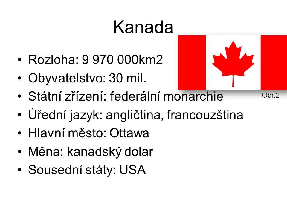 Kanada Rozloha: 9 970 000km2 Obyvatelstvo: 30 mil.