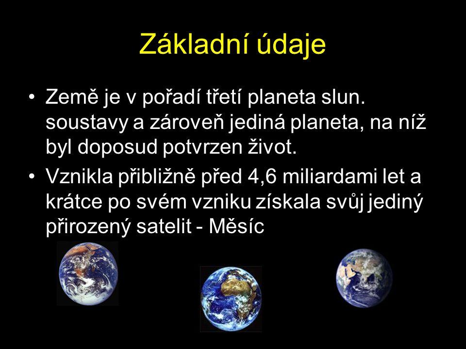 Základní údaje Země je v pořadí třetí planeta slun. soustavy a zároveň jediná planeta, na níž byl doposud potvrzen život.