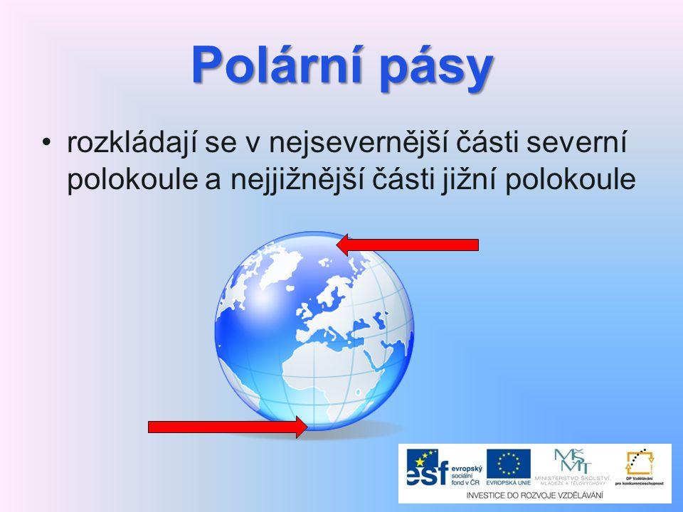 Polární pásy rozkládají se v nejsevernější části severní polokoule a nejjižnější části jižní polokoule.