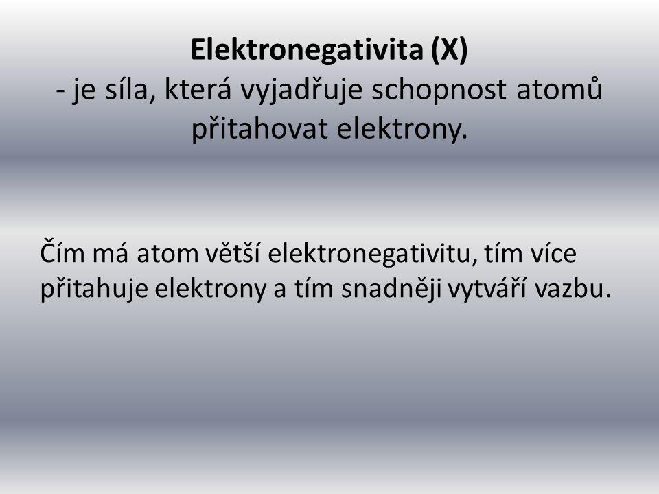 Elektronegativita (X) - je síla, která vyjadřuje schopnost atomů přitahovat elektrony.