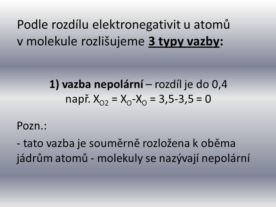 1) vazba nepolární – rozdíl je do 0,4 např. XO2 = XO-XO = 3,5-3,5 = 0