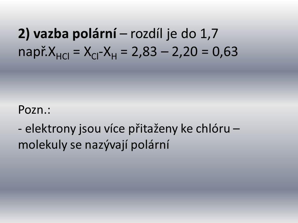 2) vazba polární – rozdíl je do 1,7 např