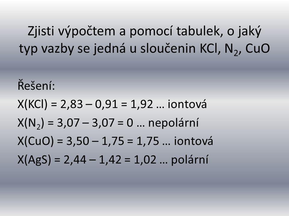 Zjisti výpočtem a pomocí tabulek, o jaký typ vazby se jedná u sloučenin KCl, N2, CuO