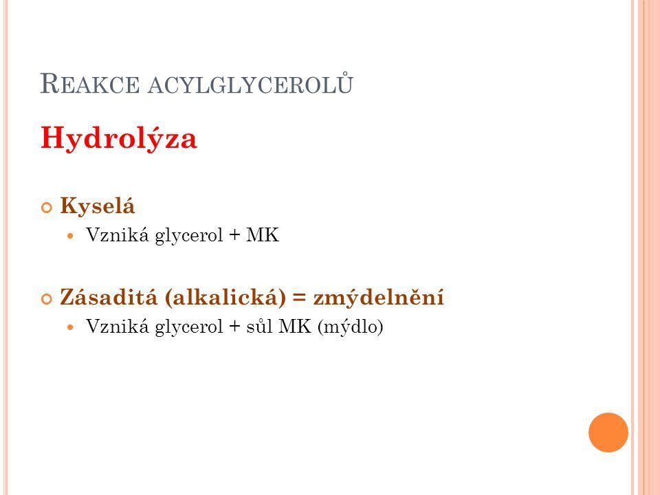 Hydrolýza Reakce acylglycerolů Kyselá