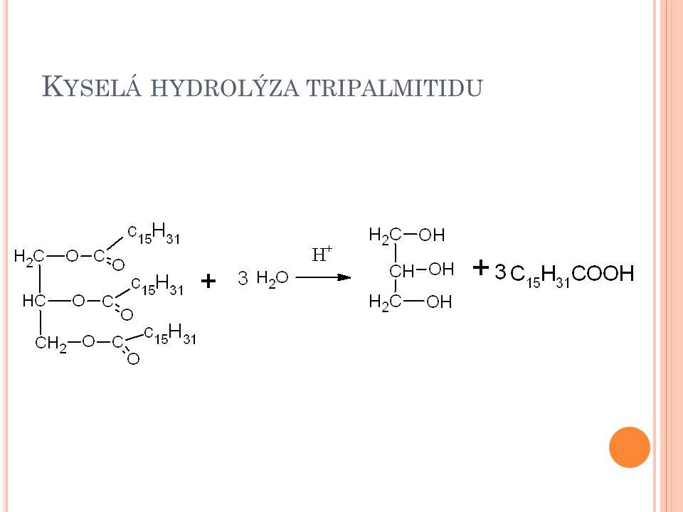 Kyselá hydrolýza tripalmitidu