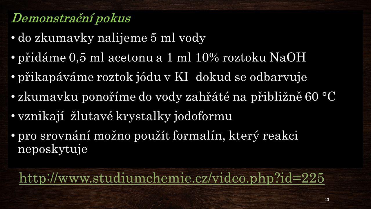 http://www.studiumchemie.cz/video.php id=225 Demonstrační pokus