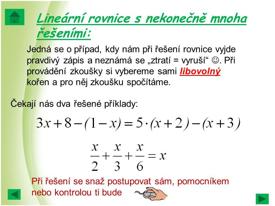 Lineární rovnice s nekonečně mnoha řešeními: