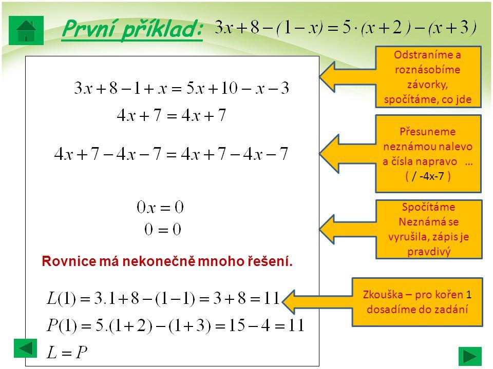 První příklad: Rovnice má nekonečně mnoho řešení.