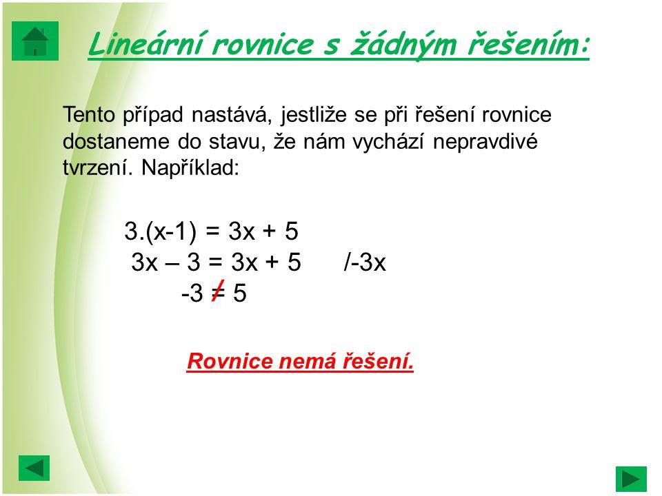 Lineární rovnice s žádným řešením: