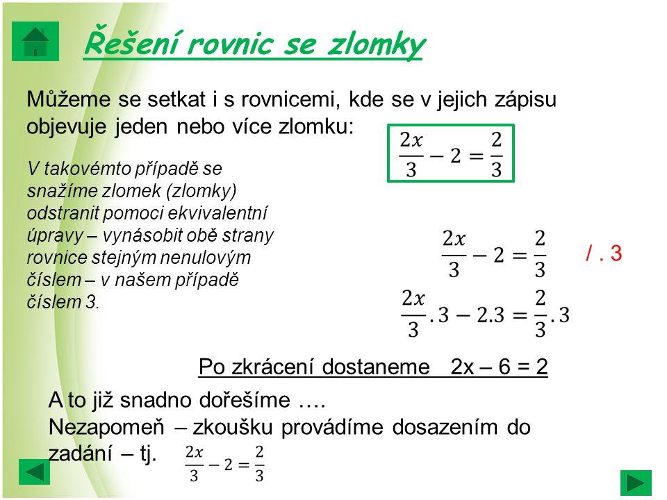 Řešení rovnic se zlomky