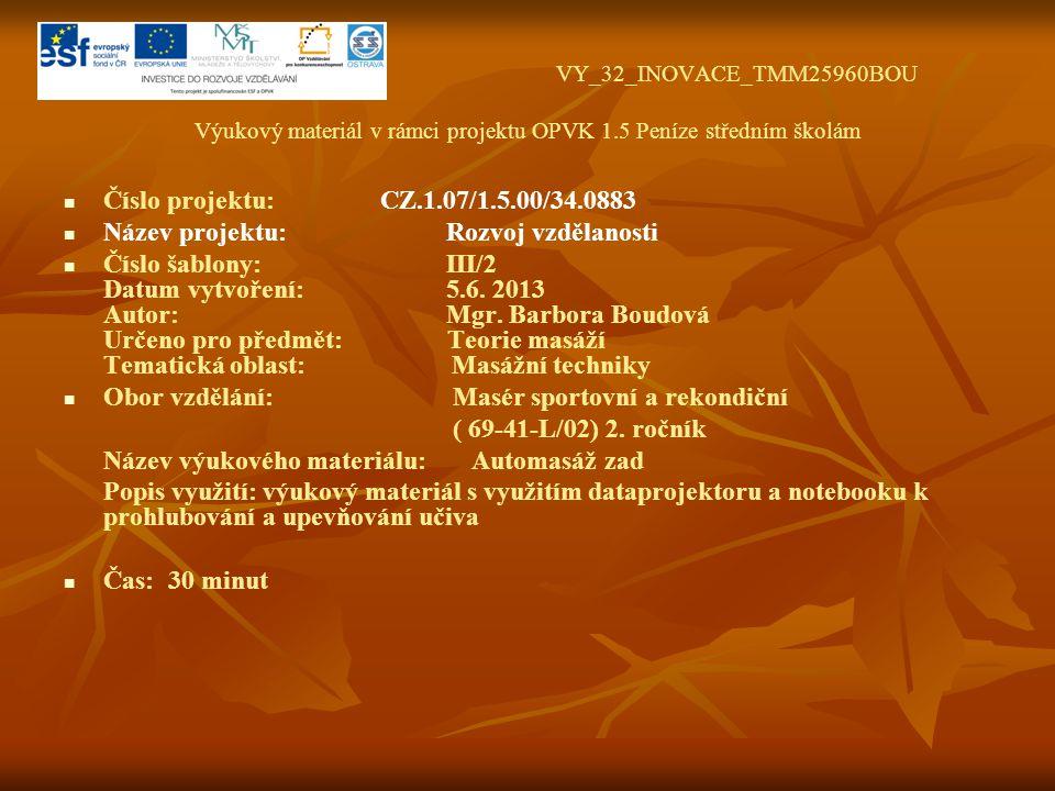 VY_32_INOVACE_TMM25960BOU Výukový materiál v rámci projektu OPVK 1