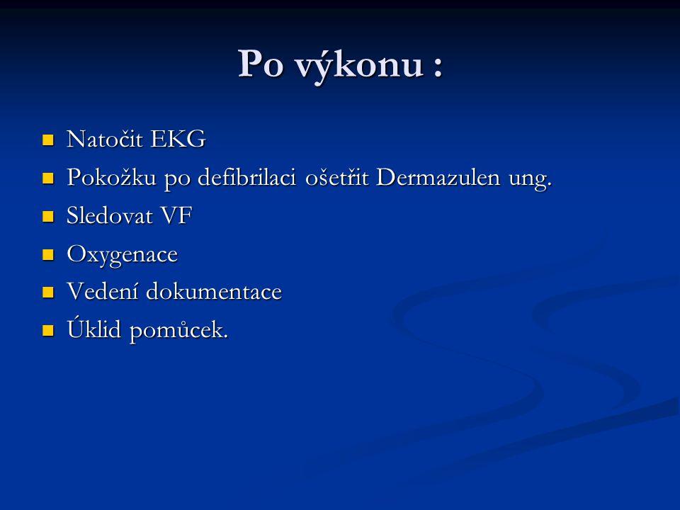 Po výkonu : Natočit EKG Pokožku po defibrilaci ošetřit Dermazulen ung.
