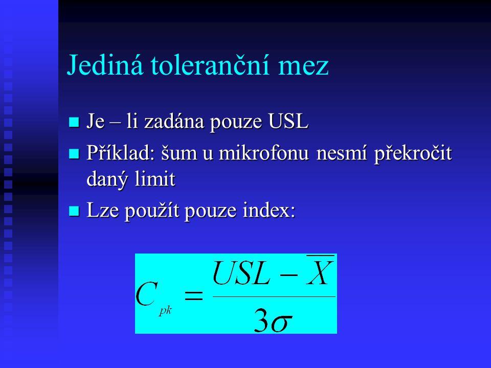 Jediná toleranční mez Je – li zadána pouze USL
